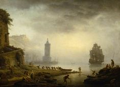 Claude-Joseph Vernet, Morning: A Port in the Mist Fishermen Hauling in Their Boat, 1751 Claude-Joseph Vernet (14 Aug. 1714 - Paris, 3 Dec. 1789) - one of the leading French landscape painters of his period, particularly celebrated for his paintings of ...