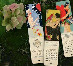 2012 Calendar Bookmarks - Vintage Art Deco Flapper Theme $8.95