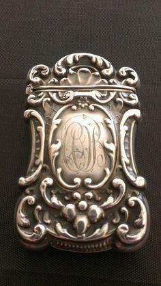 Antique Sterling Silver Monogrammed Match Safe / Vesta Case