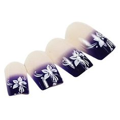 QINF 24PCS Purple Gradients Flower Design Natural Nail Art French Tips With Glue -- Find out more about the great product at the image link.