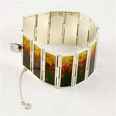 Multi-Color Mosaic Amber and Silver Hinged Cuff Bracelet