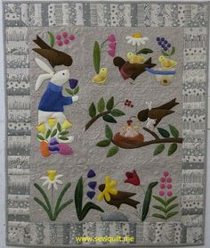 Bunny and Birds quilt by Phyl at Sew Quilt, quilted by Jessica Gamez. Wool appliqué design by Bonnie Sullivan.