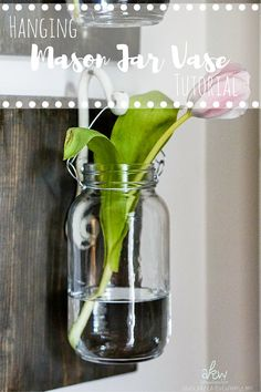 How about these fabulous Hanging Mason Jar Vases!  Don't they look amazing. Perfect for any home decor style…but awesome for the Farmhouse look!  You can do so much with the basic tutorial…you can use different paint treatments on the wood…you could tint your mason jars…SO MANY possibilities.  Get started by visiting A Kreative Whim and …