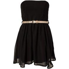 Club L Liza Bandeau Chiffon Dress (695 UYU) ❤ liked on Polyvore featuring dresses, vestidos, robe, short dresses, black, party dresses, womens-fashion, club l, pleated mini dress and pleated dresses