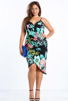 Plus Size Tropical Wrap Bodycon Dress