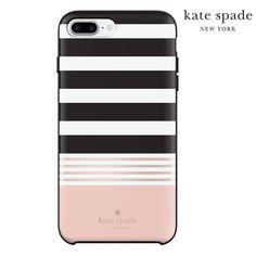 iPhone 7 PLUS Kate Spade Black & Peach Striped Case