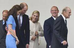 "Prince Edward, Catherine Duchess of Cambridge, Prince William Duke of Cambridge, Zara Tindall, Mike Tindall and Prince Philip, Duke of Edinburgh leave after attending ""The Patron's Lunch"" celebrations for The Queen's 90th birthday on The Mall on June 12, 2016 in London, England. 10,000 guests have gathered on The Mall for a lunch to celebrate The Queen's Patronage of more than 600 charities and organisations."