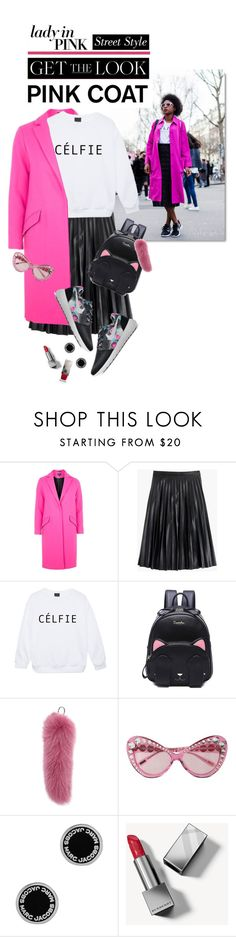"""""""Hey, Girl: Pretty Pink Coats"""" by shortyluv718 ❤ liked on Polyvore featuring Topshop, J.Crew, NIKE, Weekend Max Mara, Moschino, Marc Jacobs, Burberry, sneakers, midiskirt and pinkcoats"""