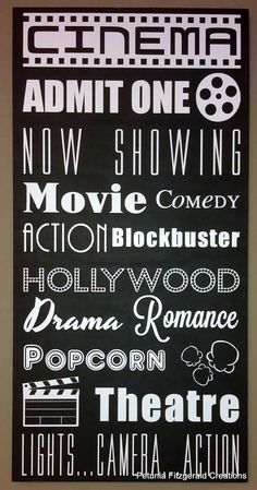 12x24 Movie/Cinema Themed Typography Word Art Painting