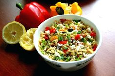 Orzo with Roasted Vegetables. A delicious pasta salad with roasted vegetables feta cheese summer herbs and a homemade lemon dressing - perfect for cookouts! Roasted Vegetables Barefoot Contessa, Feta, Delicious Vegan Recipes, Healthy Recipes, My Favorite Food, Favorite Recipes, Soup And Salad, Pasta Salad