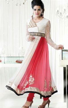 Angelic Off White And Pink Anarkali Bollywood Salwar Kameez VIVIO9612 - www.indianwardrobe.com