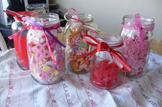 Fill mason jars with marshmellow's and other gummy candy for party favors
