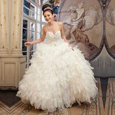 sweet elegant V neckline wedding dress -ZZKKO