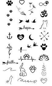 mini tattoos with meaning . mini tattoos for girls with meaning . mini tattoos for women Mini Tattoos, Cute Small Tattoos, Little Tattoos, Small Tattoo Designs, Dog Tattoos, Finger Tattoos, Body Art Tattoos, Feather Tattoos, Tatoos