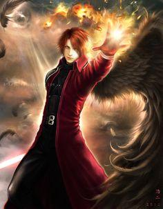 GENESIS by *K-Koji on deviantART, angel, one wing, red hair, fantasy, cute guy, drawn
