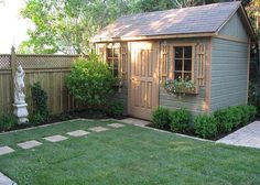 A well kept backyard is only complete with our durable 8 ft x 12 ft Palmerston shed featuring a single deluxe door, flower boxes and shutters. Backyard Storage Sheds, Backyard Sheds, Outdoor Sheds, Backyard Patio, Shed Patio Ideas, Backyard Office, Backyard Chickens, Outside Sheds, Shed Landscaping