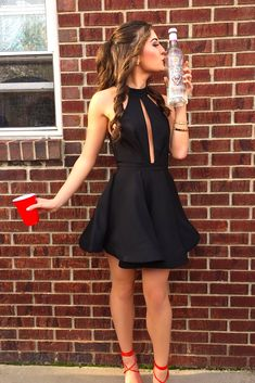 Elegant Prom Dresses, A-Line Jewel Short Black Satin Homecoming Dress with Keyhole Shop for La Femme prom dresses. Elegant long designer gowns, sexy cocktail dresses, short semi-formal dresses, and party dresses. 2 Piece Homecoming Dresses, Mini Prom Dresses, Elegant Bridesmaid Dresses, Dresses Short, Dresses For Teens, Simple Dresses, Party Dresses, Prom Gowns, Dress Prom