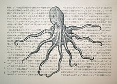 Octopus Print on Japanese Text.  In Japanese tradition,  the octopus is seen as an emblem of vanity & silliness.