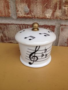 Sale! Beautiful House of Prill Musical Staff / Note Porcelain Stamp Holder - Roll - Vintage Desk Accessories  on Etsy, $12.95
