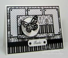 handmade card: Paper Crafty's Creations: The Deconstructed Sketch Challenge #47 ... luv the use of so many white and black patterned papers ...