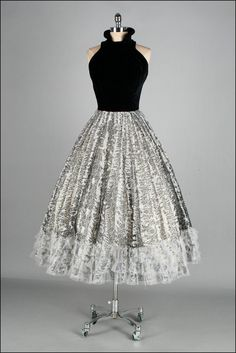 Vintage 1950's Dress with a Black Velvet Bodice and White and Black Skirt