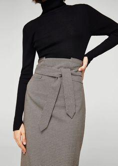Micro houndstooth skirt - f foMidi Women | MANGO USA