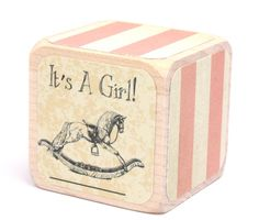 Baby Shower Gift  Shabby Chic Nursery  Baby Block by Booksonblocks