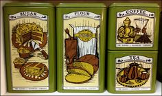 Wonderful vintage Kitchen Tins in booth 280 at Charleston Antique Mall in Las Vegas, NV!