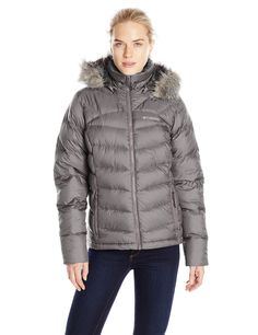Columbia Women's Glam-Her Down Jacket, Mineshaft, Large. Water resistant fabric. 550 fill power down insulation. Removable hood. Zippered hand pockets. Drop tail.