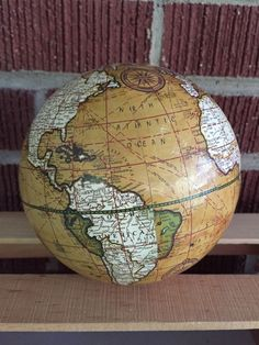 "Vintage Map 5"" Globe Ball | 1960s | Paper Mache | Mustard Yellow | Home Decor"