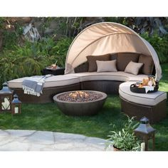 Belham Living Rendezvous All Weather Wicker 36 in. Sectional Daybed Fire Pit Conversation Set