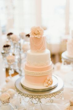 Charming Pink and White Wedding Cake