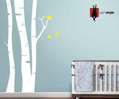 Arbre et petits oiseaux chambre de b b sticker par - Stickers arbre chambre bebe ...