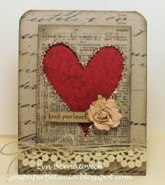 Distressed & Shabby Card...with inked papers & cutout heart...could be for Valentine's Day.