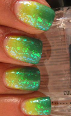 Karine's Vernis Club: Lazy Days Of Summer - Thirst Quencher! Ombre Nail Designs, Nail Polish Designs, Yellow Nails, Green Nails, Gorgeous Nails, Love Nails, Pretty Nails, Oregon Duck Nails, Packer Nails