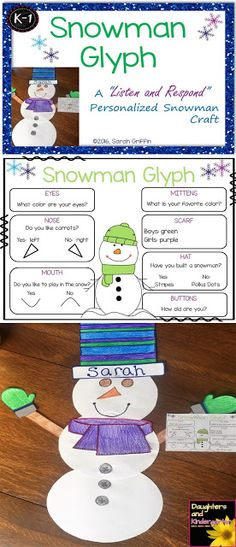 Snowman glyph craft - a following directions, listen and respond, activity to build language and listening skills. Winter craft for kids