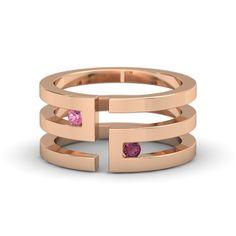 Gold Ring with Pink Tourmaline & Rhodolite Garnet