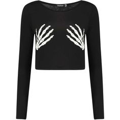 Jasmine Halloween Glow In The Dark Skeleton Crop Top ($18) ❤ liked on Polyvore featuring tops, shirts, crop top, long sleeve tops, white shirt, crop shirts, skeleton shirt, glow in the dark shirts and white crop shirt