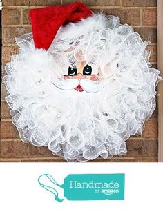 Handmade Santa Deco Mesh Wreath - Christmas Santa Wreath - Holiday Santa Face Wreath - Santa Claus Wreath - Merry Christmas Santa Door Decor - Large from Pleasant Expressions Wreath Crafts, Christmas Projects, Holiday Crafts, Wreath Ideas, Santa Wreath, Christmas Mesh Wreaths, Winter Wreaths, Wreath Fall, Snowman Wreath