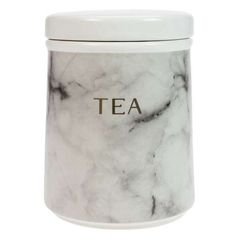 Crafted from strong and durable earthenware, this tea canister features a stylish marble effect finish and is decorated with gold coloured text that reads 'tea'. Sugar Canister, Coffee Canister, Tea Canisters, Tablet Holder, Kitchen Canisters, Marble Effect, Utensil Set, Kitchen Collection, Jar Storage