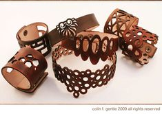 leather bracelet lasercut accessories fashion Online Custom Laser Cutting Service - Used By Apple - FREE Sample Leather Carving, Leather Art, Leather Design, Leather Cuffs, Leather Jewelry, Leather Bracelets, Leather Store, Metal Jewelry, Laser Cut Leather