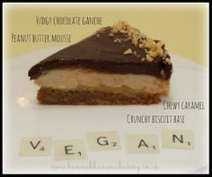 """Vegan """"Snickers"""" caramel and peanut butter and chocolate pie, winner of Great Vegan Bake Off 2013"""