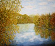 Herbstlandschaft Biberstein mit Aare im Herbst  von Kunstmaler Josef Biehler.