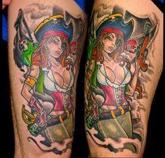 new school pirate pin up tattoo - Google Search