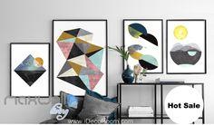 Abbstract Trangle Moon Sea Moon Canvas Prints Wall Decals Art Decor Unframed IDCCV-BO-000226
