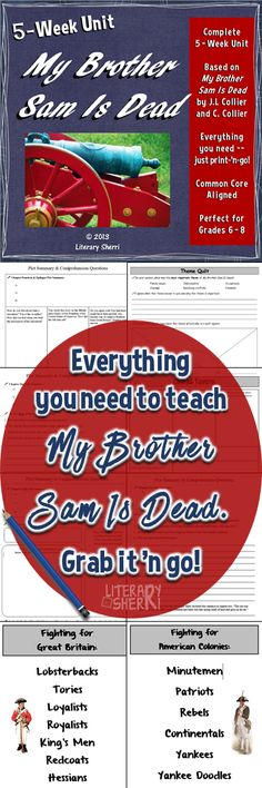 an analysis of my brother sam is dead a novel by james lincoln collier and christopher collier My brother sam is dead is a young adult historical fiction novel by james lincoln collier and christopher collierthe book realistically depicts what happened in the american revolution.