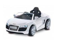 In offerta a € 271,00 automobilina BIEMME GIOCHI, motore velocità 3 km/h, batteria a secco 1 x 6 V, autonomia 1 ora. Caricabatteria da 6 Volts incluso. Acceleratore a freno unico pedale, marcia avanti + retromarcia. Fusibile protezione motore. Design realistico, luci a LED, luci e suoni, radiocomando.  Con realistico rombo del motore. LICENZIATO DA AUDI AG. Puoi trovarla su http://qpoint.eu/prodotto/auto-elettrica-audi-r8-spyder-bianca/
