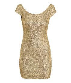 Short, fitted dress in gold sequin-embroidered mesh. Cap sleeves, low-cut neckline at back & jersey lining.   Party in H&M