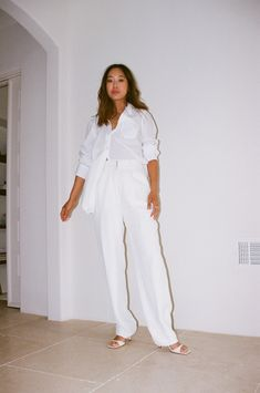 Aimee Song   White Button-Down Outfits   White Shirt Style White Button Down Outfit, All White Outfit, White Outfits, Aimee Song, Shirt Outfit, Button Downs, Shirt Style, What To Wear, Women's Fashion