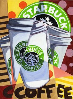 "starbucks art | Cubistic Starbucks"" Painting art prints and posters by ..."